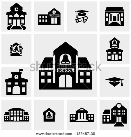 School Building Silhouette Clip Art