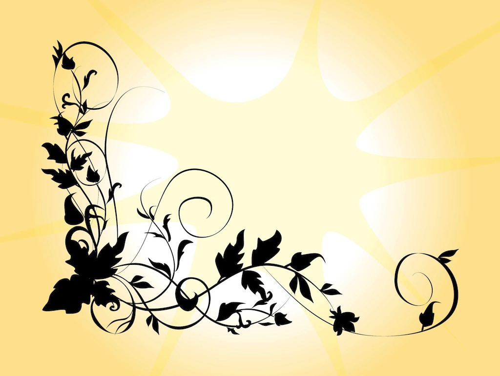 Silhouettes Free Vector Flowers