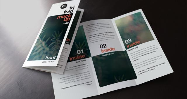 16 Tri-Fold Brochures Mockups PSD Images