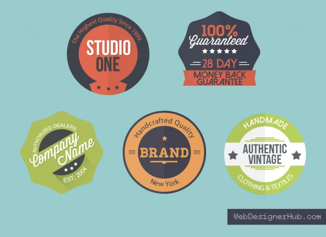 10 Flat PSD Badges Images