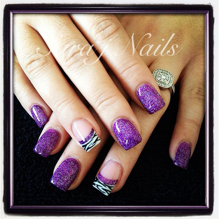 14 Purple Zebra Acrylic Nail Designs Images