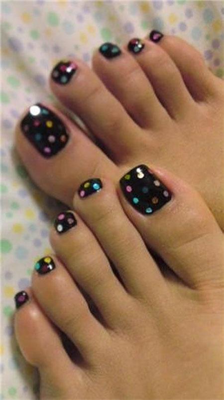 Black Nail Polish with Polka Dots