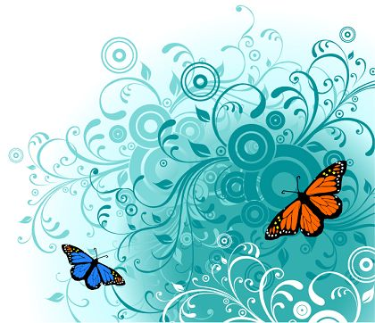 Butterfly and Flower Vector Graphics