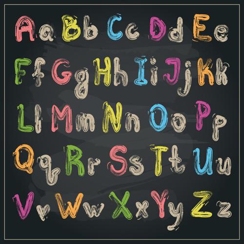 Colored Chalk Alphabet
