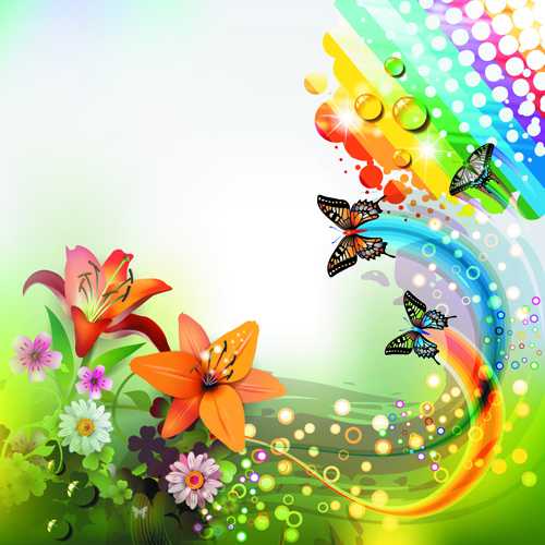 Colorful Butterflies and Flowers