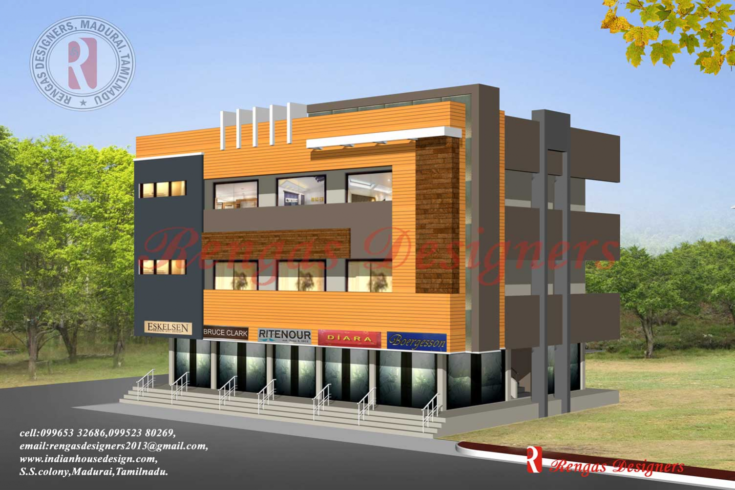 Front Elevation Steel Design : Commercial building exterior front elevation design in