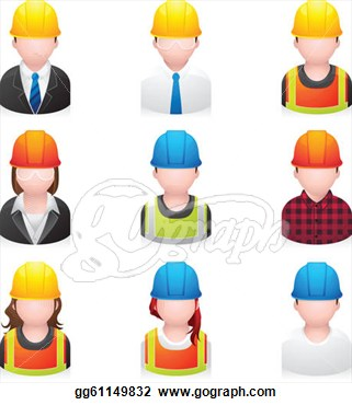 Construction People Icons Clip Art