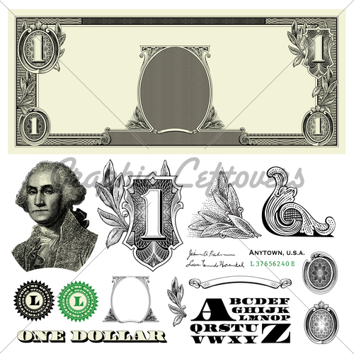 11 One Dollar Bill Vector Images