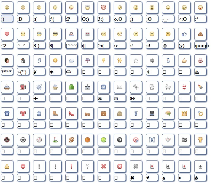 12 All Facebook Emoticons Codes Images