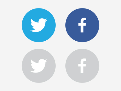 Facebook Twitter Icons Round