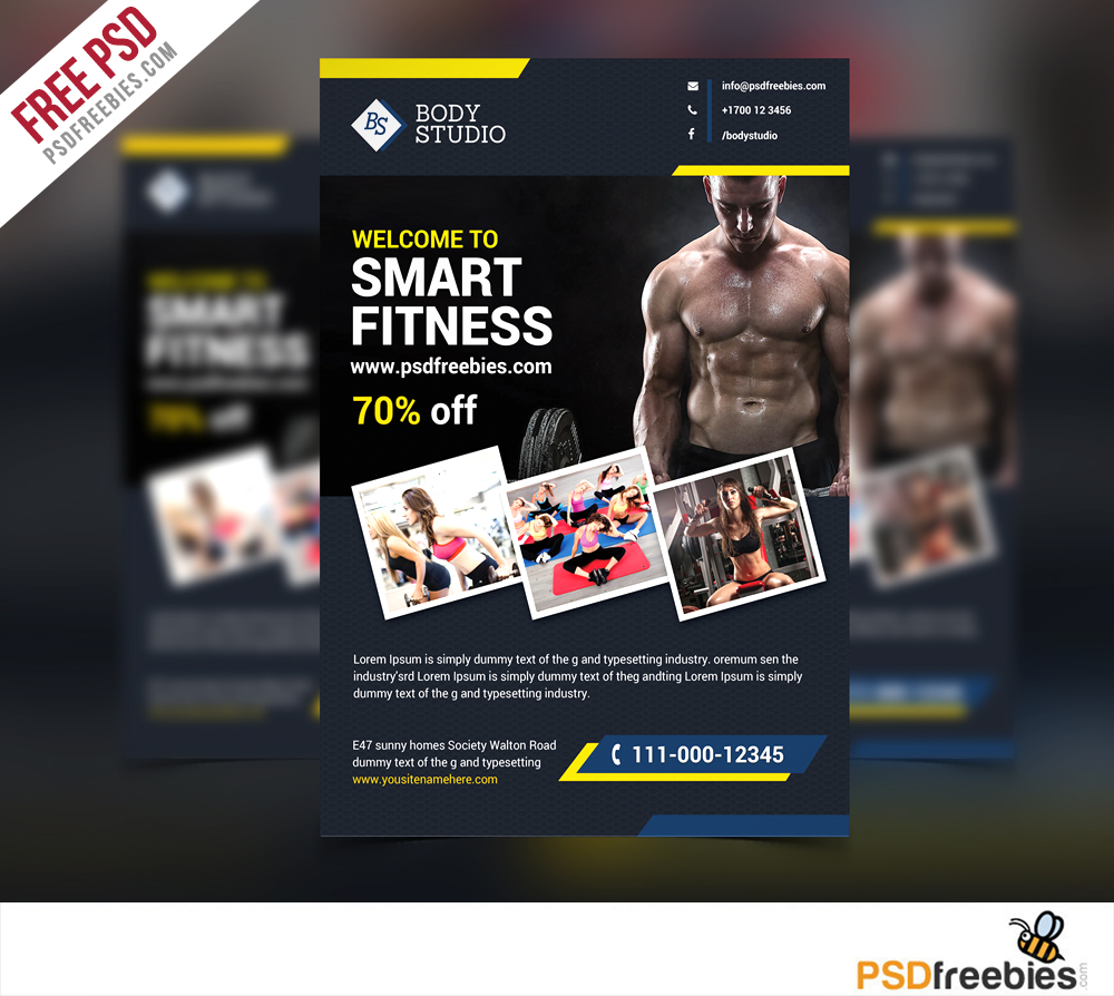 Fitness PSD Flyer Templates Free Downloads