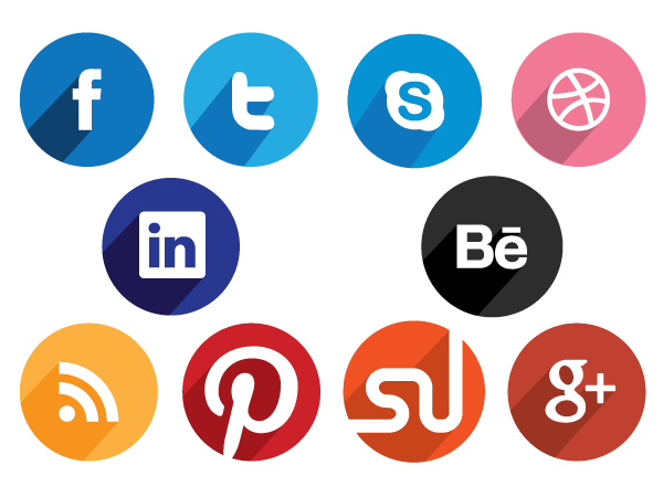 Flat Round Social Media Icons