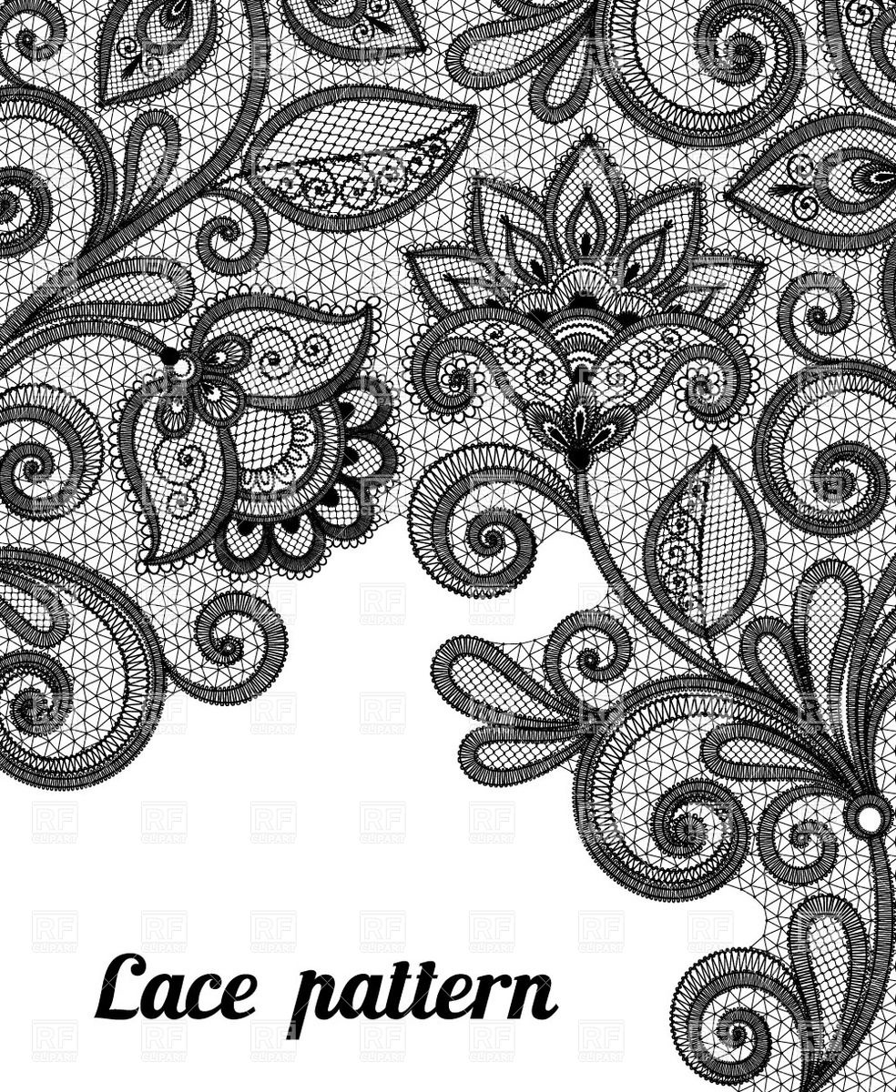 15 Black Lace Vector Images