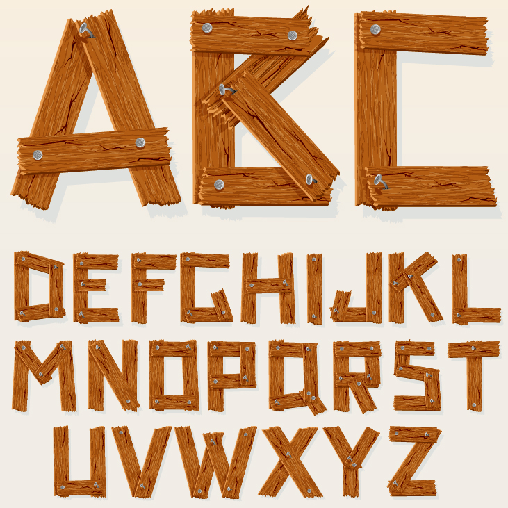 12 free wood type font vector images wood alphabet for 3d wooden alphabet letters