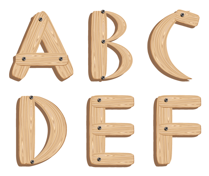 Free Vector Wooden Alphabet Letters