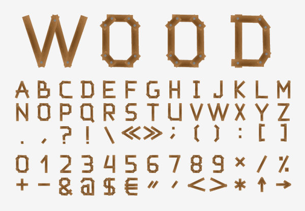 Free Wood Font Letters