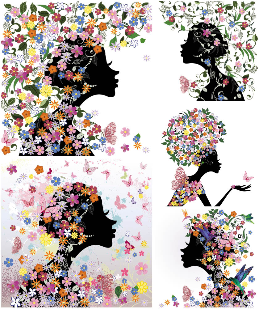 Girl with Butterflies and Flowers Clip Art