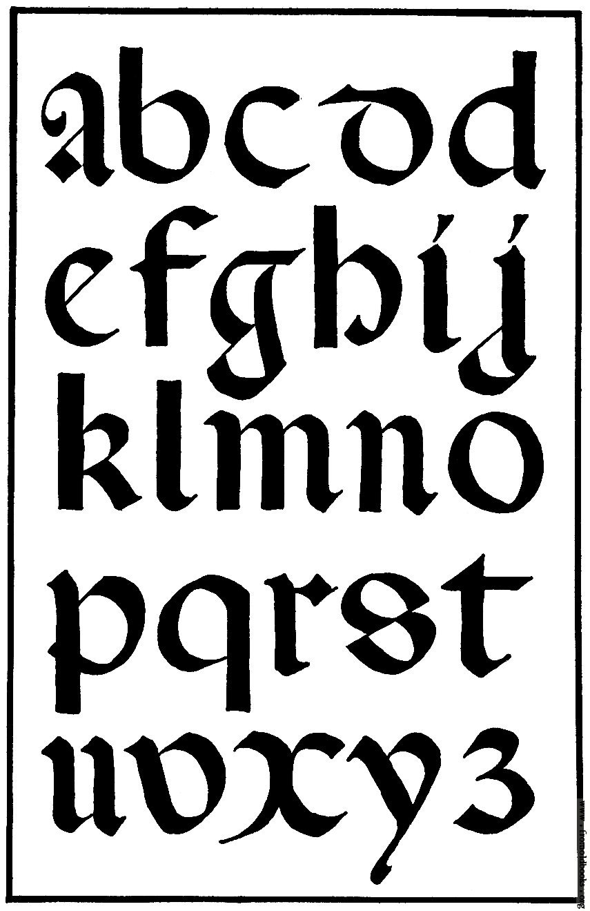 Gothic Calligraphy Alphabet Letters