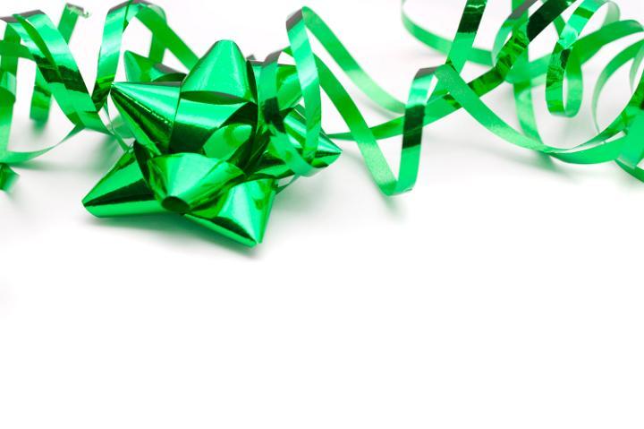 Green Christmas Ribbon Bow
