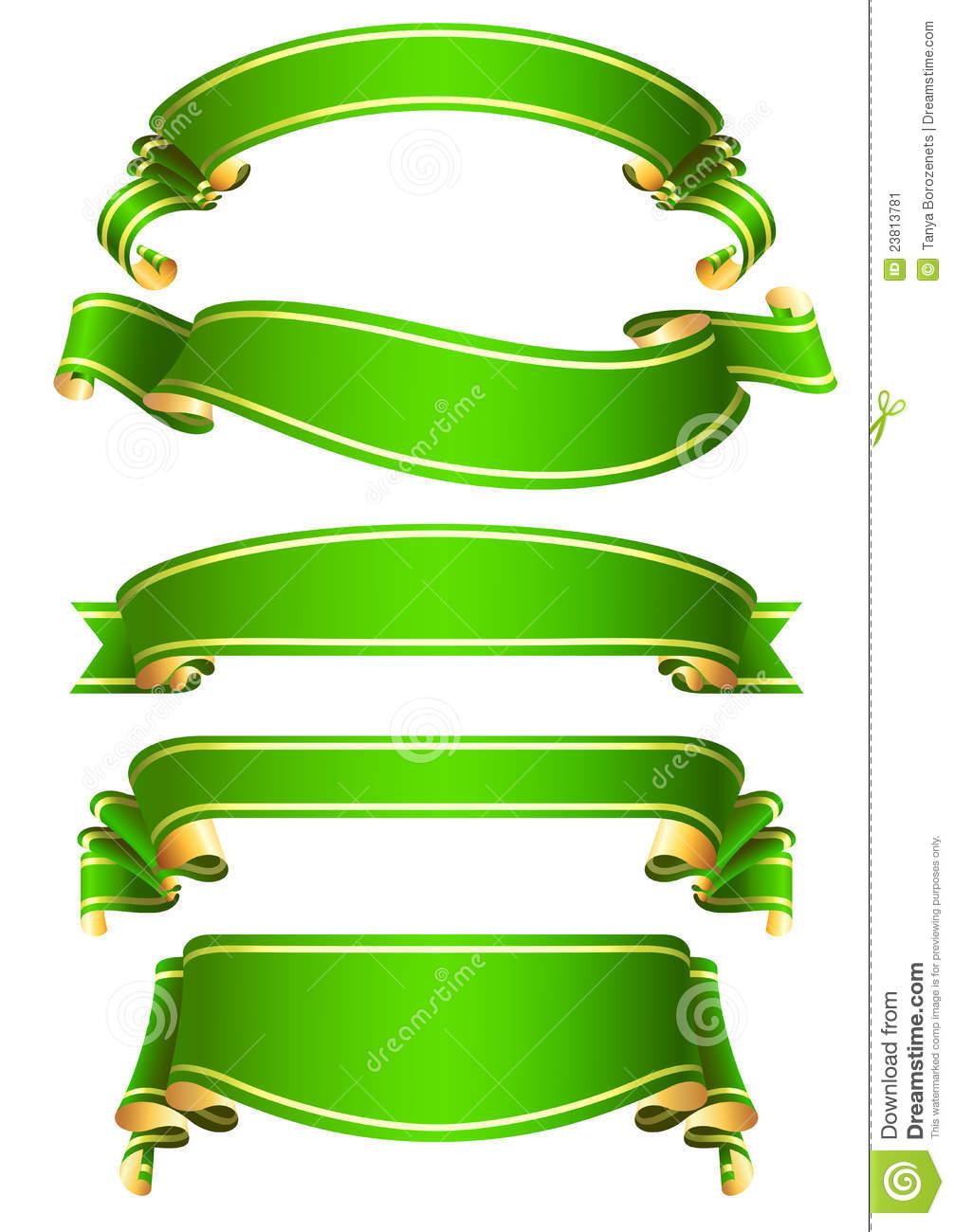 Green Ribbon Banner Vector