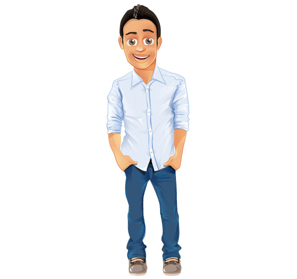 Handsome Man Cartoon Character
