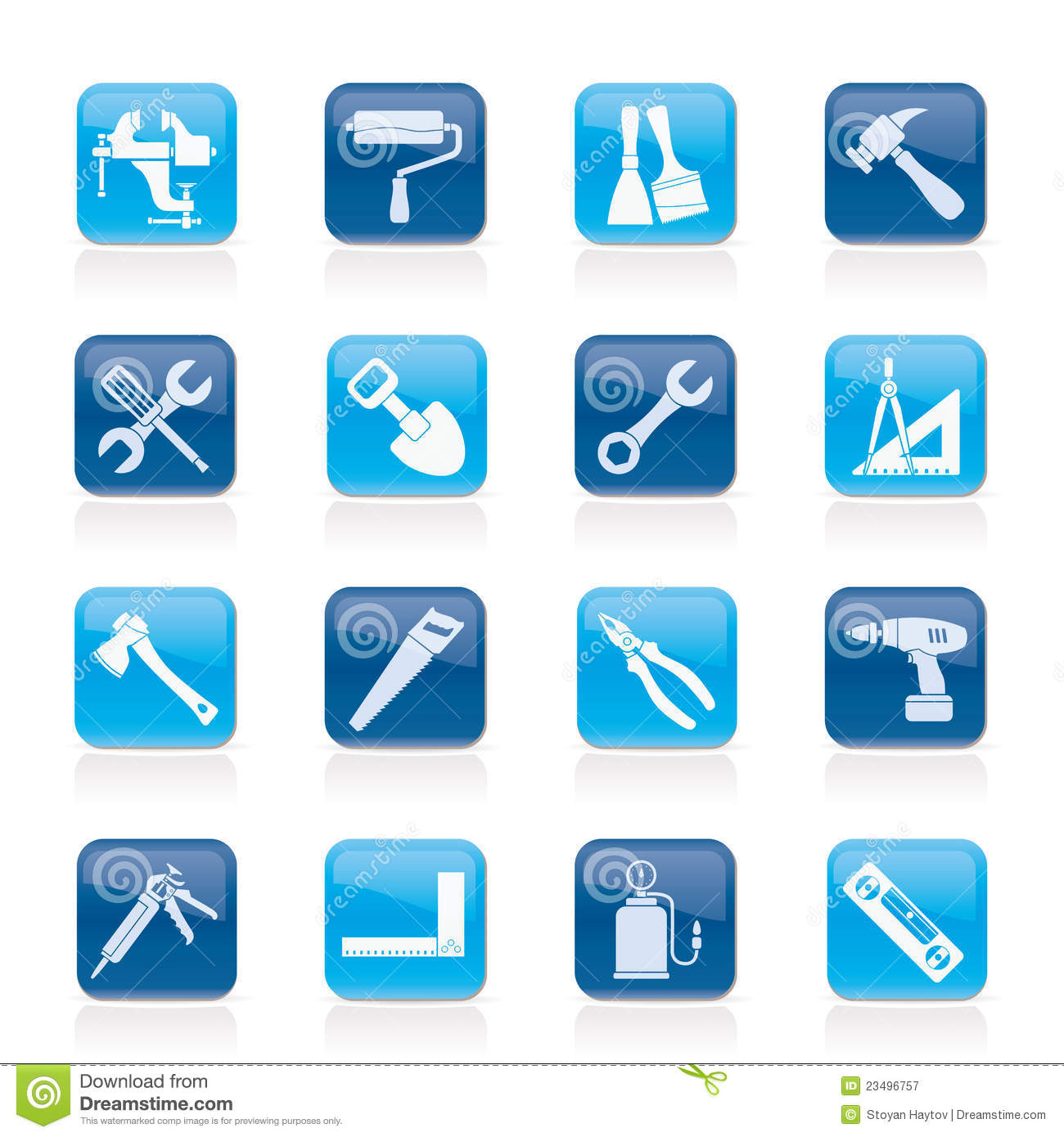 9 Blue Construction Tools Icon Images