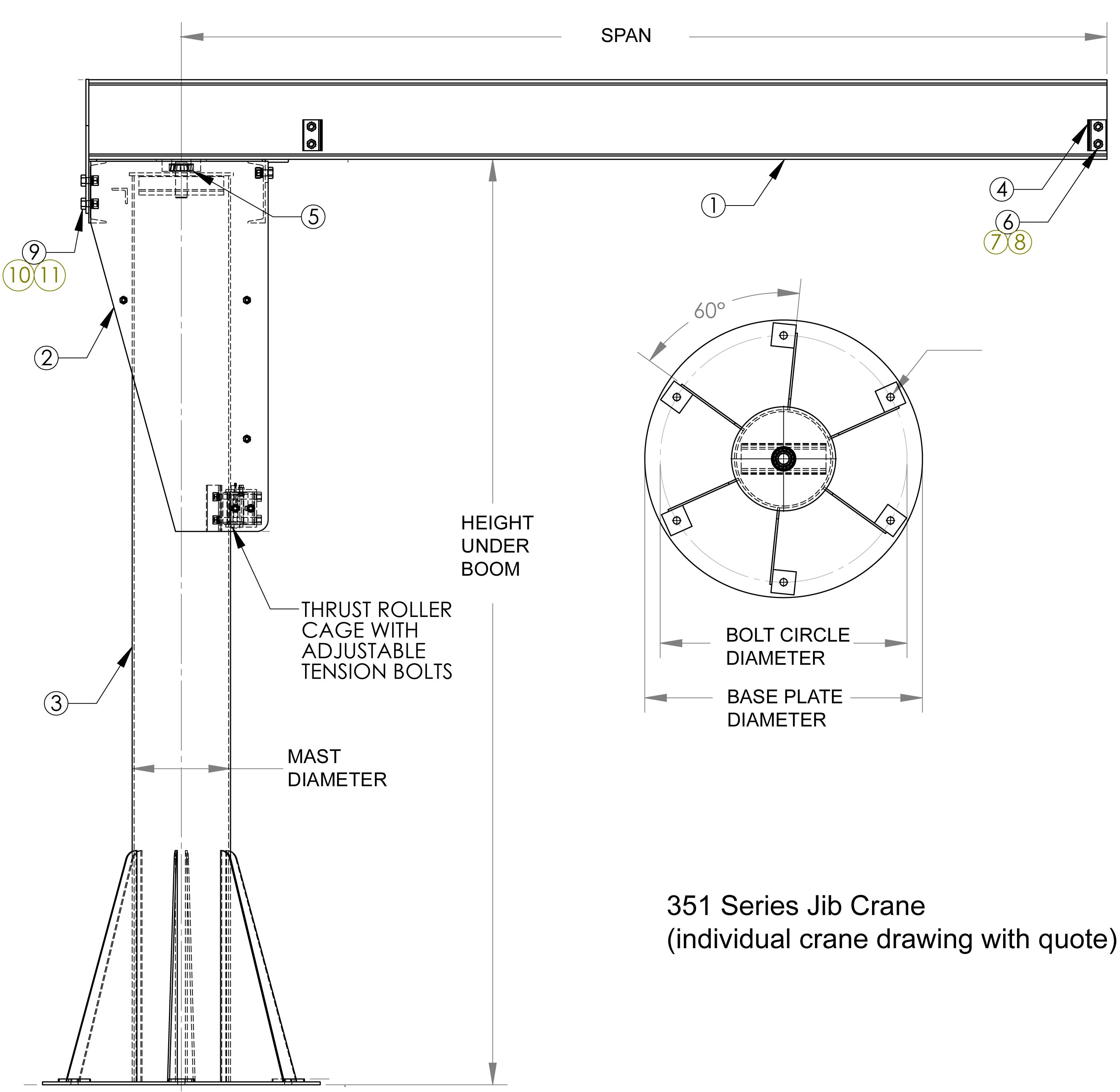Jib Crane Parts Drawing : Jib crane design drawings images free standing