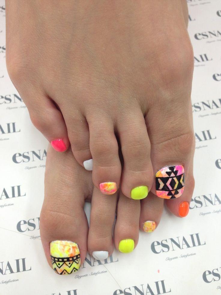 9 Neon Toe Nail Design Pinterest Images