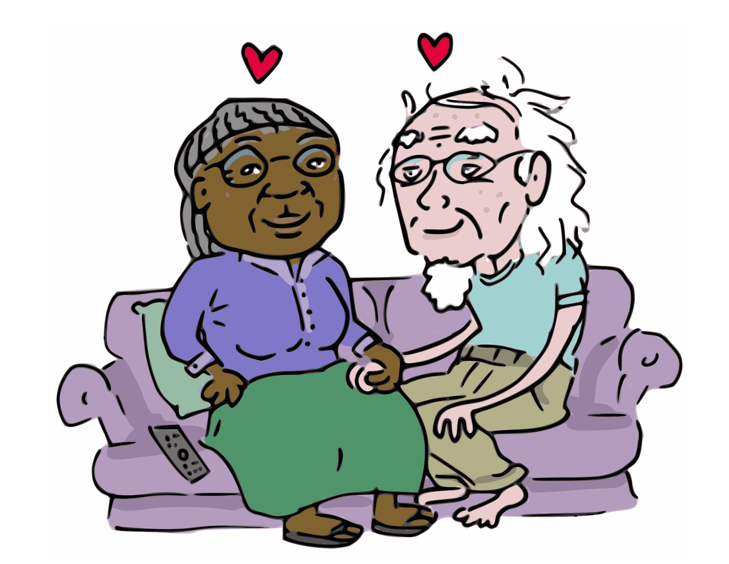 Old People Together Clip Art