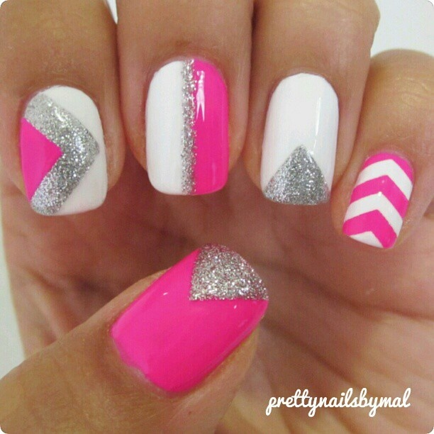 11 pink white and blue nail designs images pink purple and blue pink and white nail designs 2014 prinsesfo Choice Image