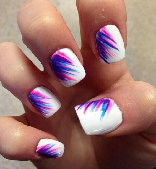 11 Pink White And Blue Nail Designs Images Pink Purple And Blue