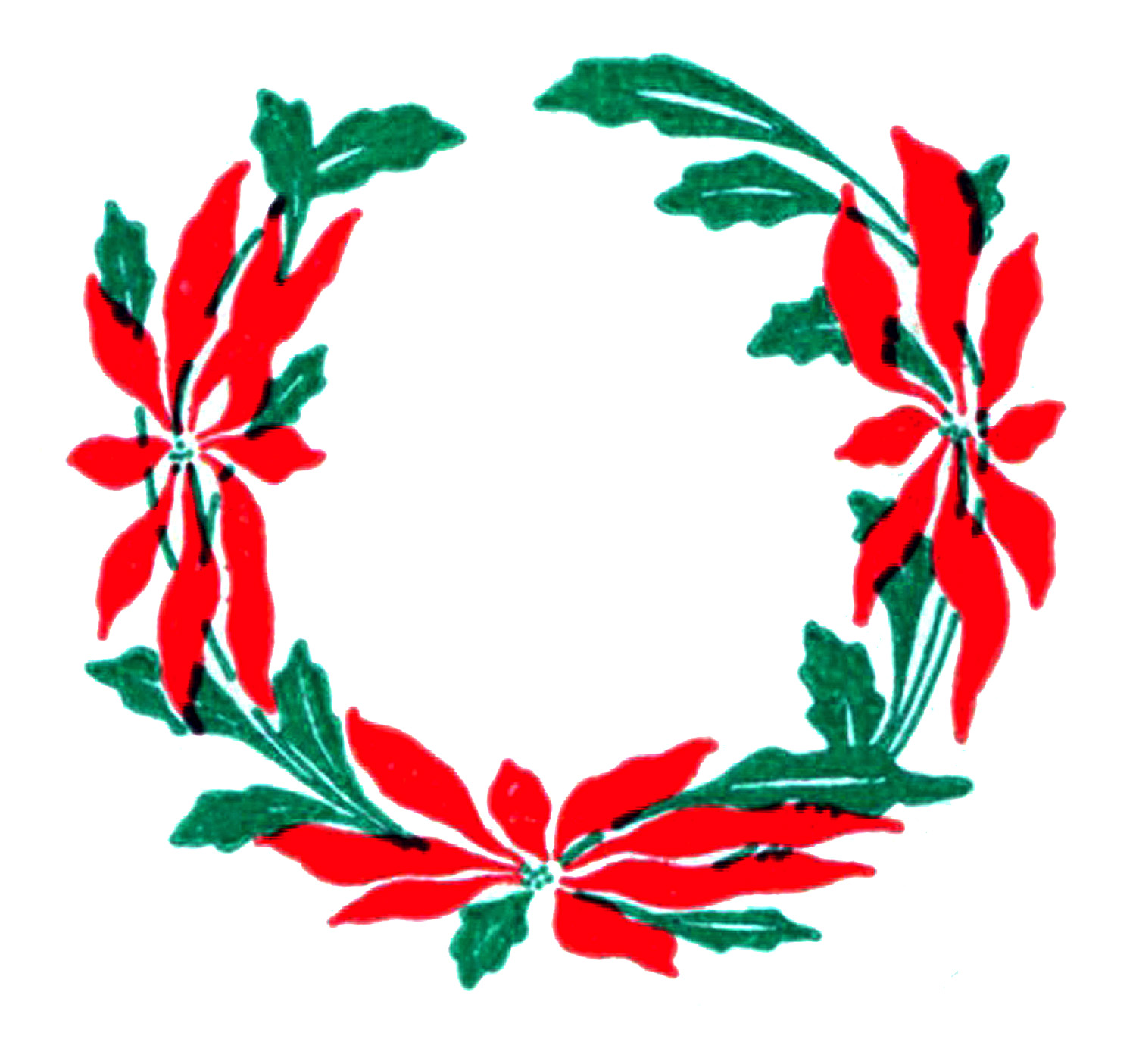 Poinsettia Christmas Wreath Clip Art
