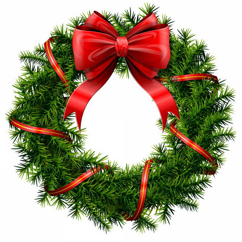 Ribbon Christmas Wreath Clip Art