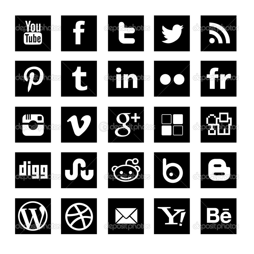 15 Black Square Social Media Icons Images