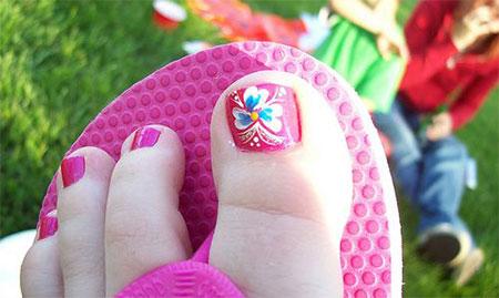 Summer Toe Nail Art Design Flowers