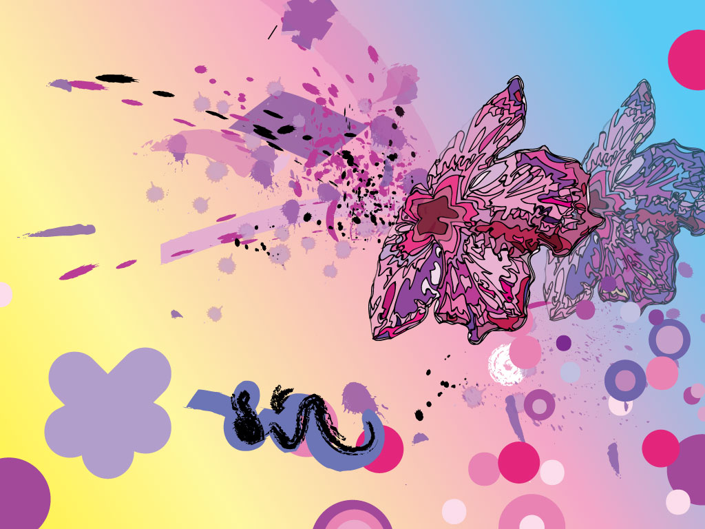 Vector Flowers and Butterflies