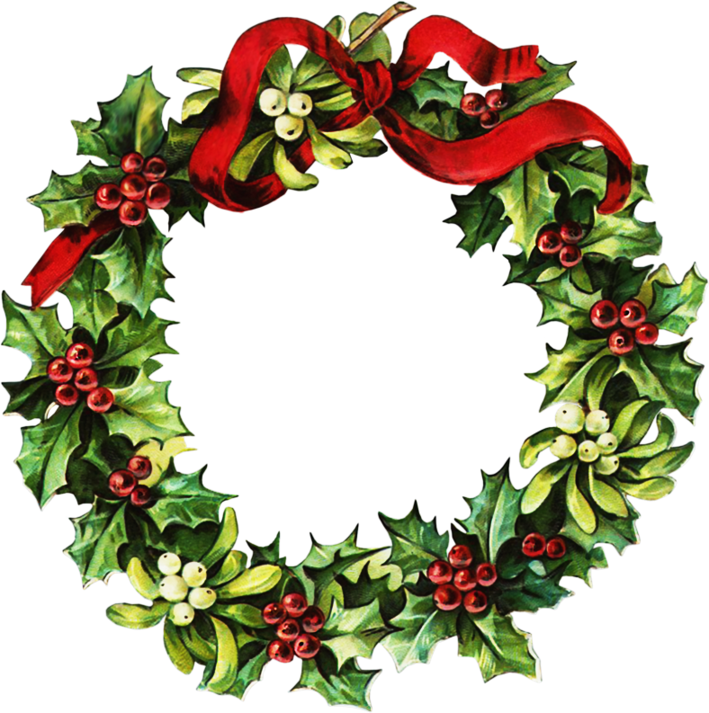 Victorian Christmas Wreath Clip Art