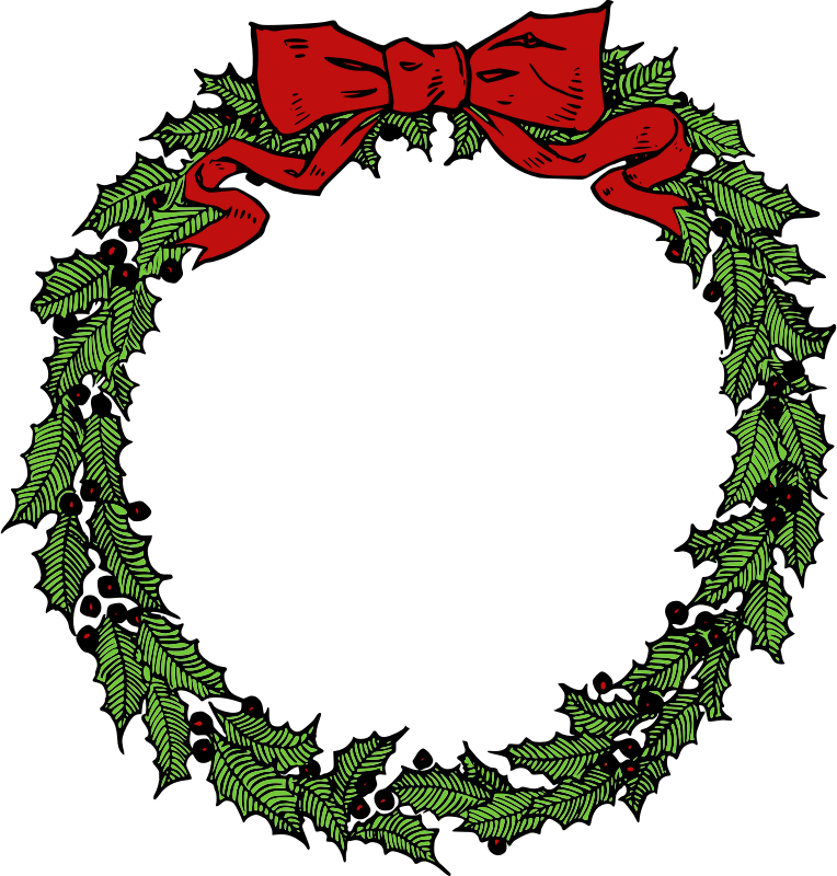Vintage Christmas Wreath Clip Art Free