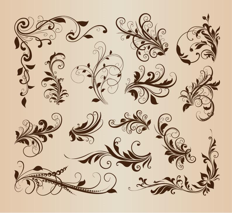 16 Vintage Swirl Vector Images