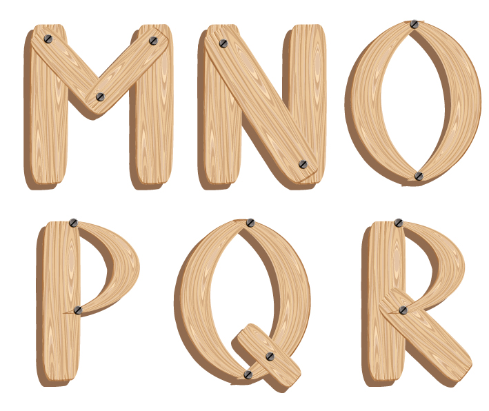 Wood Alphabet Letters Fonts
