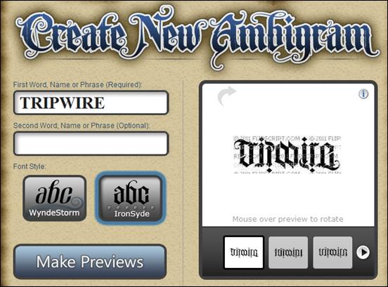 Ambigram Tattoos Design Generators