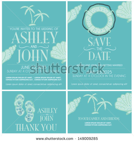 12 Beach Wedding Invitation Vector Images