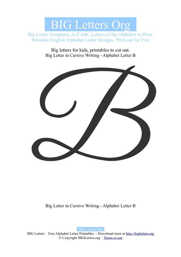 Big Cursive Letter B Templates