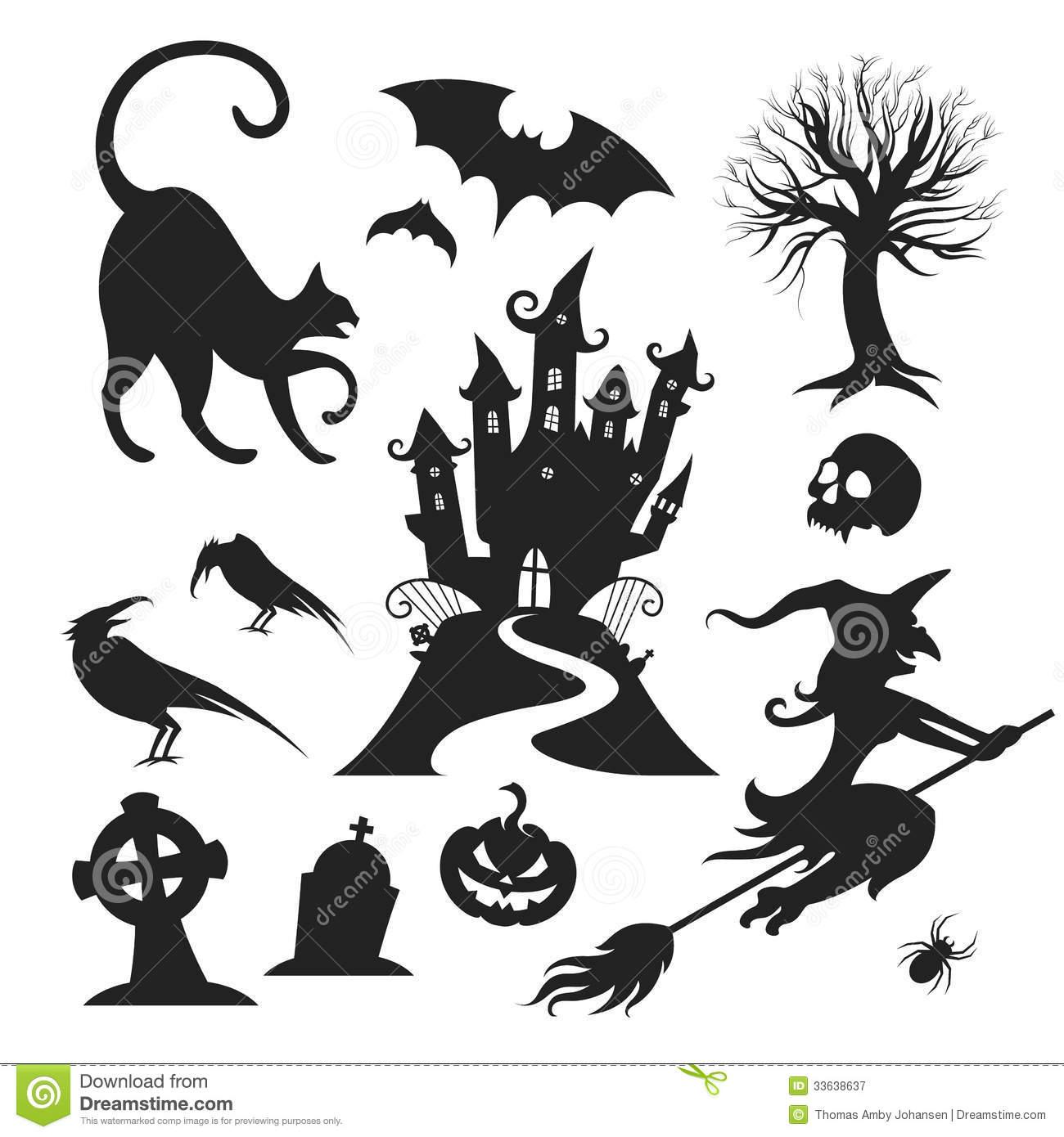 Black & White Halloween Clip Art Free