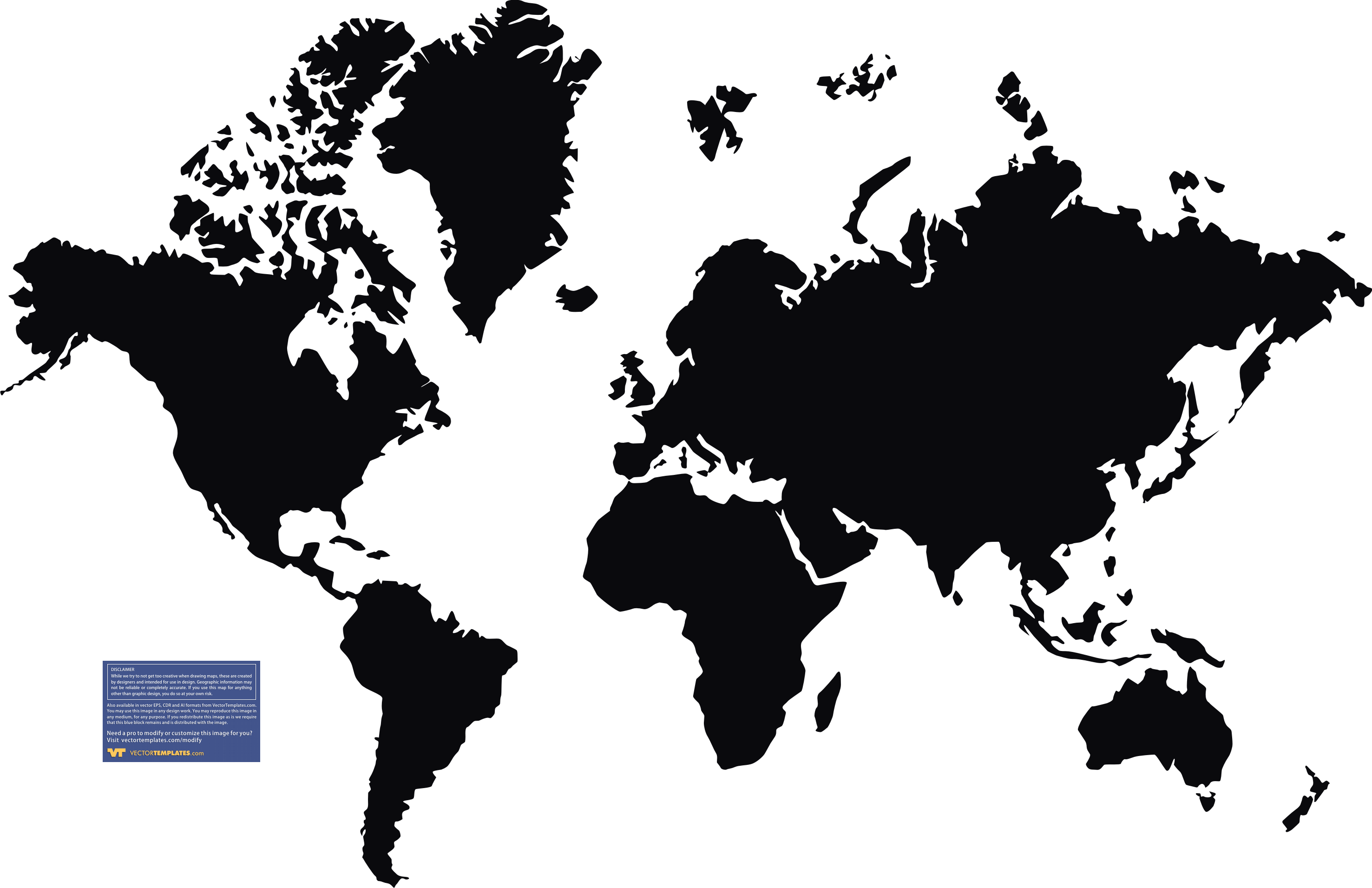 Black White World Map Vector