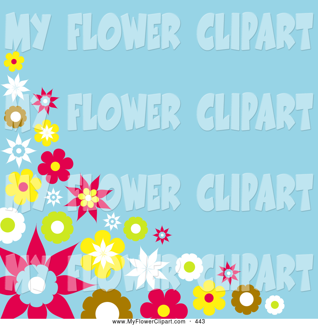 Blue and Brown Flower Clip Art