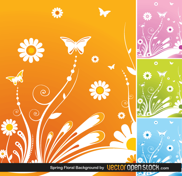 Butterfly Spring Flowers Vector