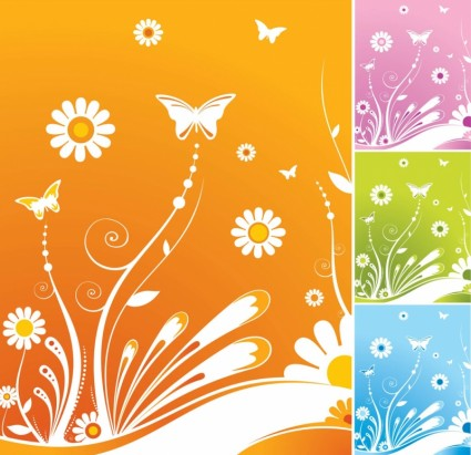 8 Spring Flowers Vector Images