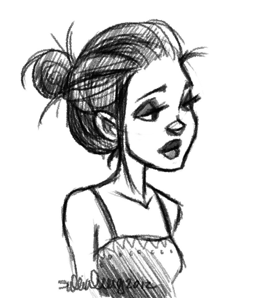 Cartoon Girl with Bun On Head