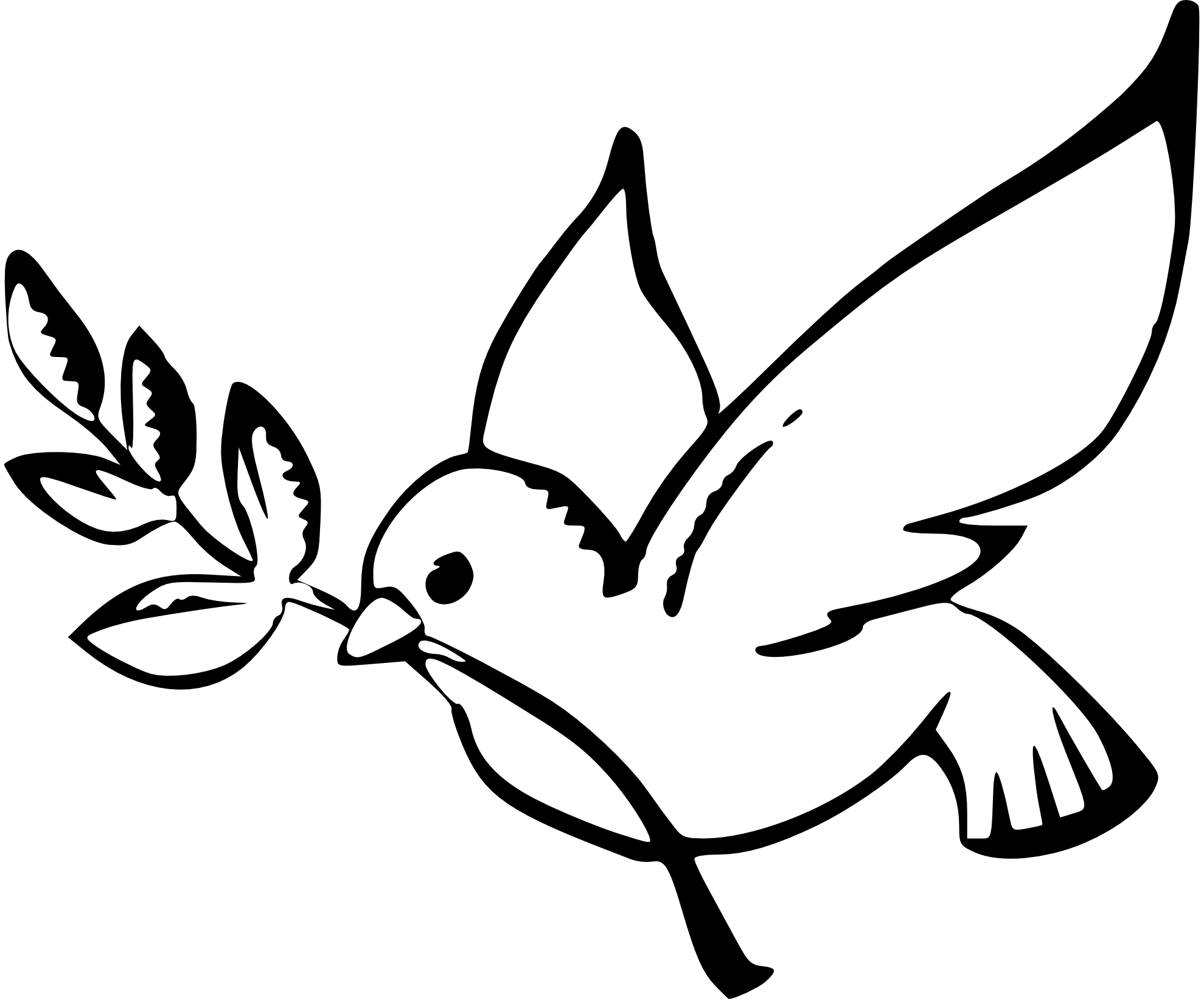 Christmas Dove Clip Art Black and White